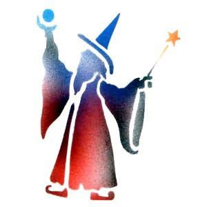 wizard 2 stencil by dinair fantasy stencils